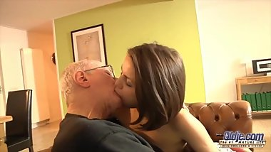 Sexy 18yo fucked by old man with intense orgasm and facial cumshot