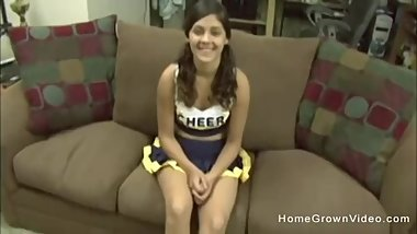Amateur teen cheerleader gets a cock up her asshole