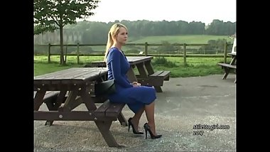 Sexy blonde Stiletto Girl Larissa stimulates shoe fetish in high heels