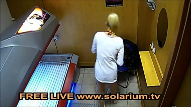Blonde Horny Teen Masturbate in Public Solarium Hidden spy Cam