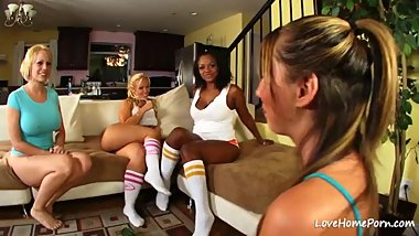 Four sensual girls are getting naughty together