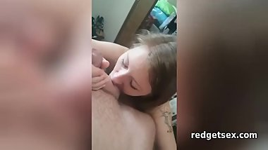 Girlfriend Sucking My Balls While Giving Blowjob