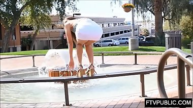 Teen public upskirt and pee