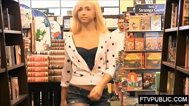 Public flashing in busy bookstore