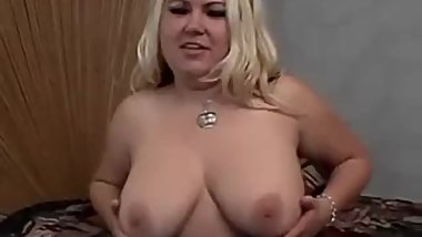 Busty blonde BBW gets dicked deep in bed