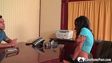 Horny babe gets fucked in the office