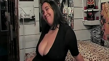 Fat broad with huge tits masturbates and deepthroats