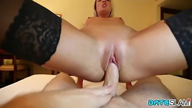 Date Slam - Blonde babe gets fucked and facialized on 1st date - Part 2