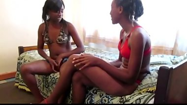 Amateur African lesbian strapon party