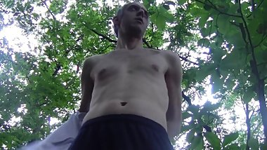 HOT HUGE CUM OUTDOOR IN PUBLIC WOODLAND - AMATEUR SOLO HARD AND HAIRY COCK