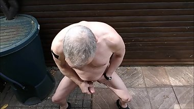 jerking public outdoor exhibitionist cumshot