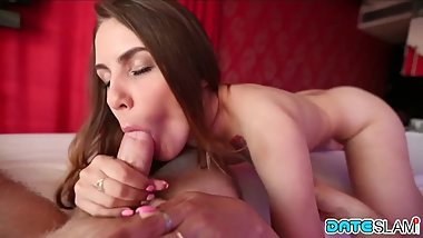 Date Slam - Pornstar Elle Rose eats cum on sex date