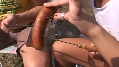 Teen anal threesome Anal romped at bbq party