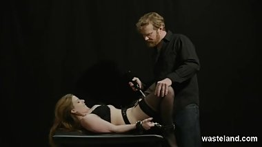 Submissive Beauty Bound And Shackled To Table For Electrifying Orgasms