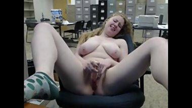 Chelsea masturbates naked in the office