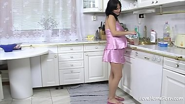 Black haired beauty is pregnant and loves sex