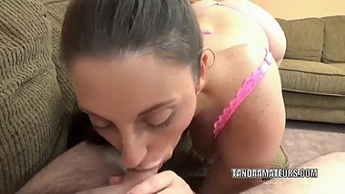 Melanie Hicks gives a blowjob to a lucky geek