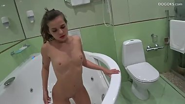 Piss and fuck hard in the shower