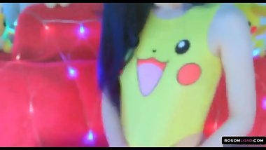 Sexy babe pikachu costume solo session