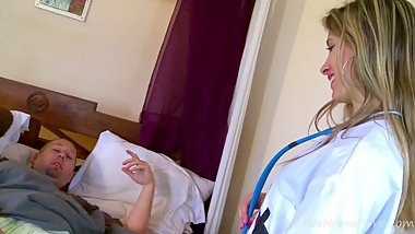 Pretty Blonde Angels Plays Nurse, Gets Drilled