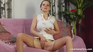 Naughty big tits slut is licked and fucked