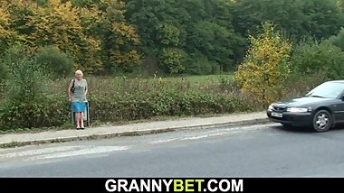 Hitchhiking old granny and boy fucking outside