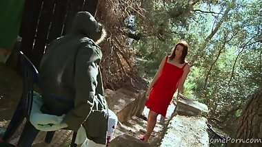 Brunette Nymph Gets Seduced In The Woods