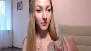 Sexy girl in stickings webcam show