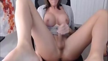 Gorgeous brunette shemale masturbates on webcam