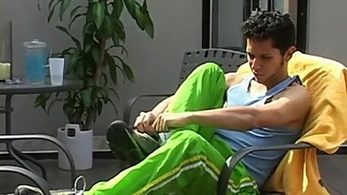 Slim homosexual Rodrigo shows his hairy feet outdoors