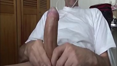 Jerking Big Uncut Cock At Work